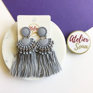 Embellished Tassel Earrings - Gray